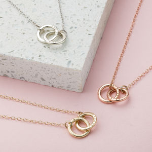 Personalised 9ct Gold Double Hoop Names Necklace - necklaces & pendants