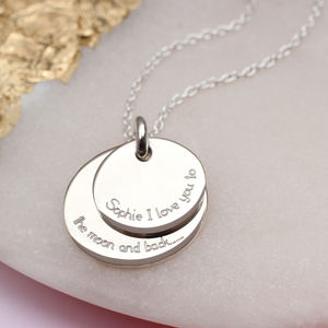 Personalised Silver To The Moon And Back Necklace