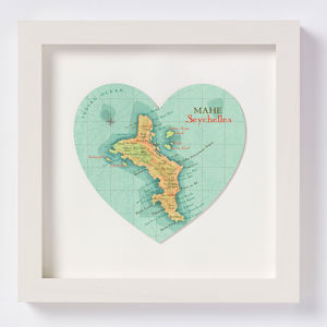 Seychelles Map Heart Print Honeymoon Gift
