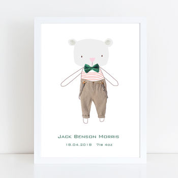 Personalised Mr Bear New Baby Print