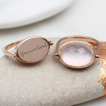 Personalised Rose Gold And Rose Quartz Spinning Ring