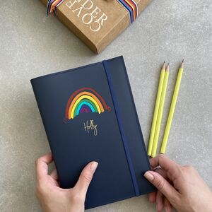 Personalised Refillable A5 Rainbow Notebook