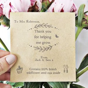 Teacher Thank You Personalised Seed Packet