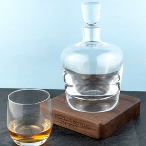 Personalised Whisky Decanter And Walnut Base - gifts for him