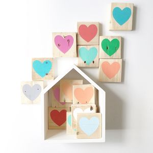 Reclaimed Wood Mini Heart Block - modern & abstract