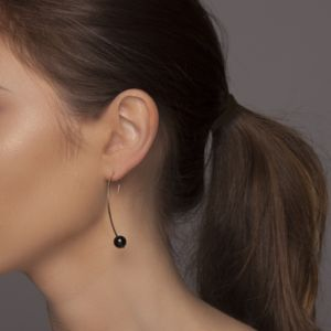 Gold Or Silver Minimal Curved Earrings With Black Onyx - new in jewellery