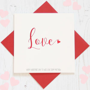 Personalised Red Foil 'Love' Card - cards & invitations