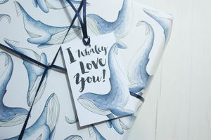 I Whaley Love You Wrapping Paper Set - ribbon & wrap