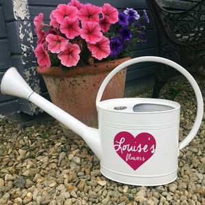 Personalised White Watering Can - garden accessories