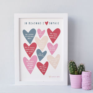 '10 Reasons Why I Love You' Personalised Print - posters & prints