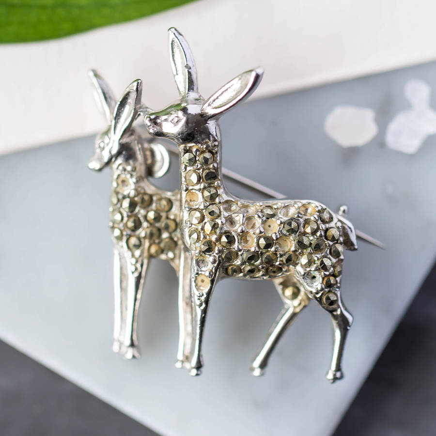 Vintage Silver And Diamante Deer Brooch