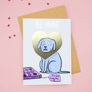 'Be Mine' Dog Gold Foiled Valentines Card