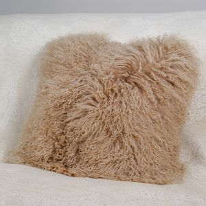 Blush Pink Curly Lamb Cushion