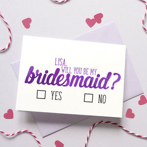 Personalised Bridesmaid/Best Man Checkbox Card - be my bridesmaid