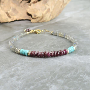 Ruby, Turquoise And Labradorite Bracelet