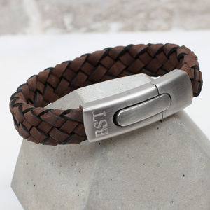 Men's Personalised Plaited Leather And Steel Bracelet