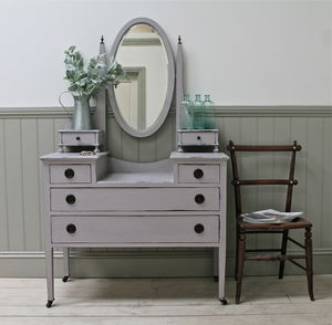 Distressed Vintage Oval Mirror Dressing Chest - bedroom