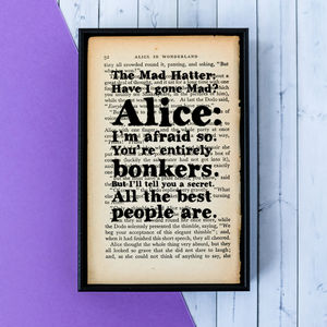 Alice In Wonderland Mad Hatter Quote Print - literature
