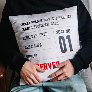Match Day Seat Reservation Personalised Cushion - gifts for fathers