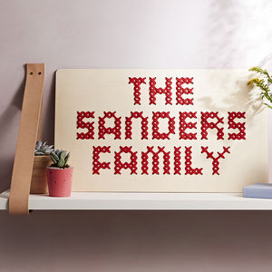 Family Name Cross Stitch Board - textile art