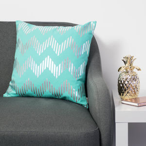 Metallic Zig Zag Cushion In Teal And Silver