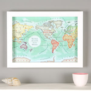You Are My World Map Mother's Day Framed Print - personalised mother's day gifts