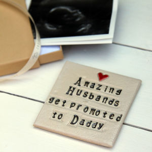Husband To Daddy Ceramic Coaster - tableware