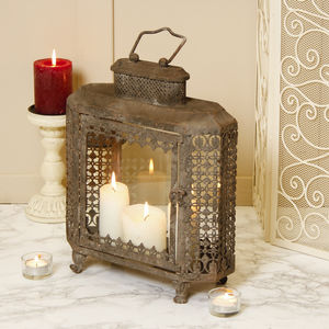 Personalised Large Clouded Grey Candle Lantern - lights & lanterns