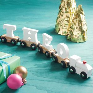 Wooden White Name Train - children's room accessories