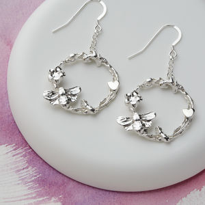 Silver Statement Bee, Flower And Heart Drop Earrings