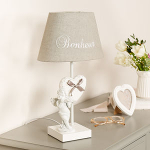 Classical French White Cherub Table Lamp