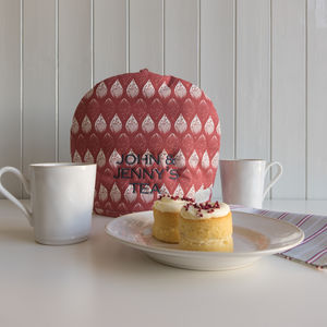 Personalised Embroidery Isabella Red Tea Cosy - kitchen accessories