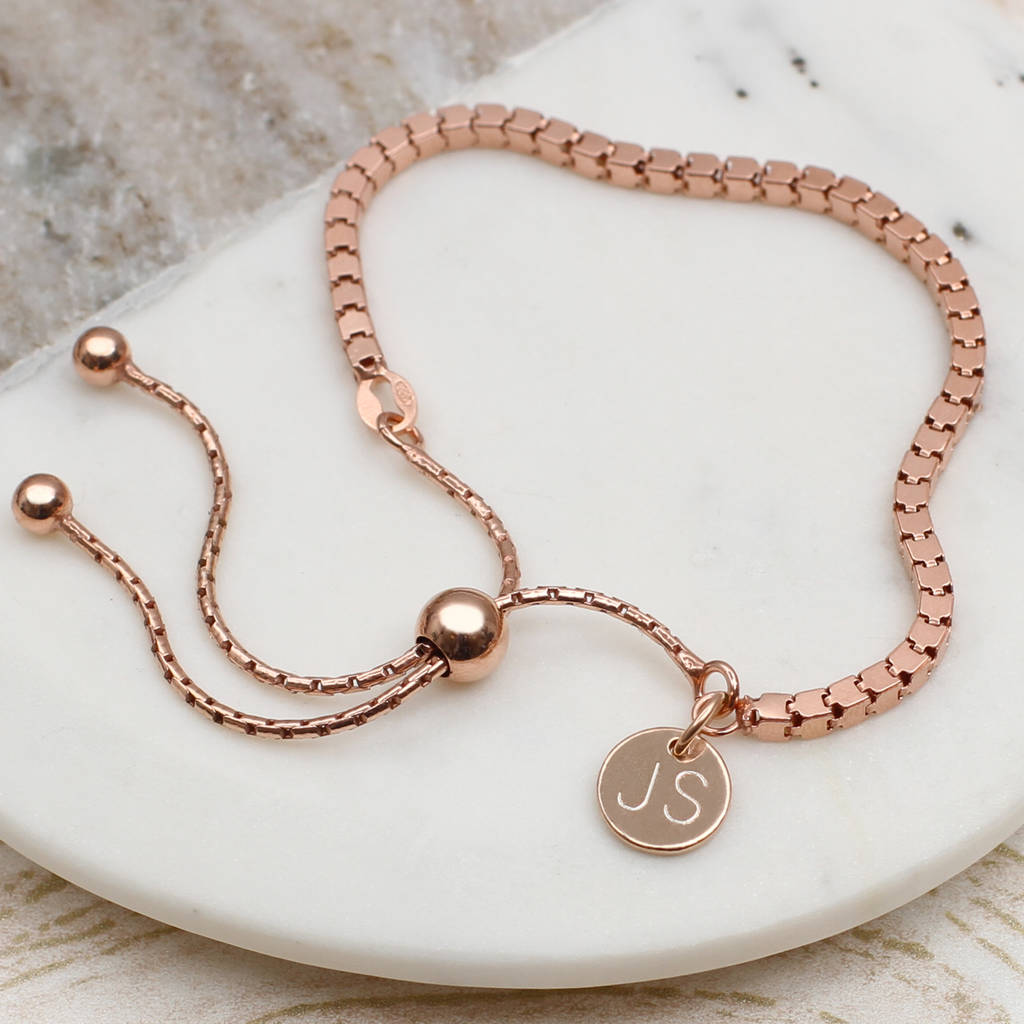 79dfc5e912e personalised 18ct rose gold box chain slider bracelet by ...