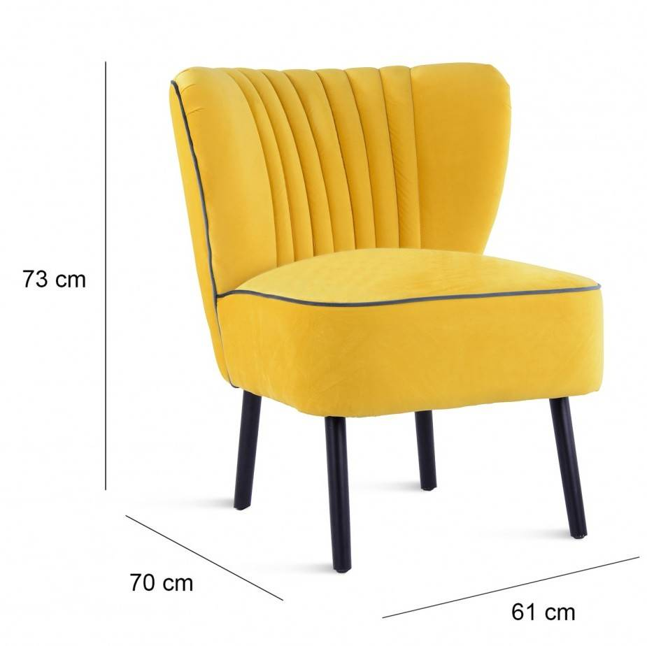 Yellow Velvet Mid Century Cocktail Chair By Fern Amp Grey