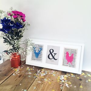 Stag And Hen Typography Wedding Print - posters & prints