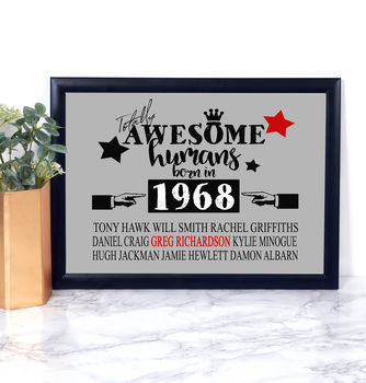 Birth Year Awesome Humans Print