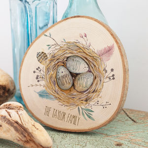 Personalised Family Print Nest On Wood Slice