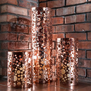 Copper Plated Bubbles Home And Garden Lantern - new in home