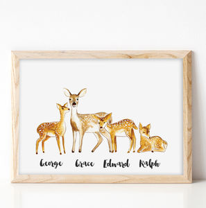 Personalised Family Deer Portrait Print - posters & prints