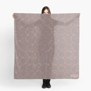 Ecru And Copper Geometric Personalised Scarf