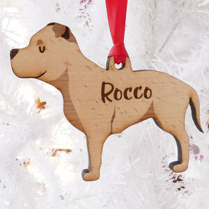 Staffie Personalised Wooden Christmas Decoration