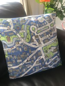 Cushion Cover With An Illustrated Map Of Edinburgh - bedroom