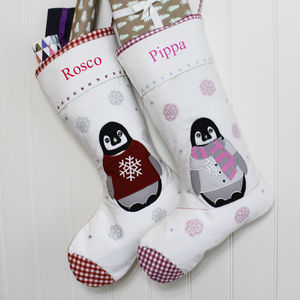 Personalised Festive Penguin Stockings - stockings & sacks
