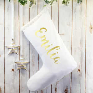 Personalised White Christmas Stocking With Gold Name