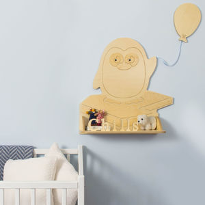 Personalised Penguin Wooden Children's Shelf - home decorating