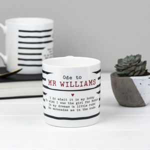 Robbie Williams Poem Bone China Mug
