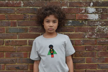 Afro Supa Superhero Short Sleeved T Shirt For Boys