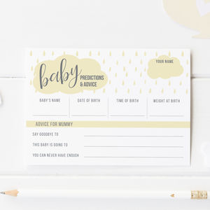 Baby Shower Game Cards Cloud Pack Of Eight - baby shower