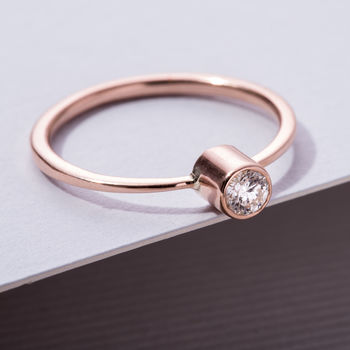 9ct Gold Tall Diamond Engagement Ring in rose gold, side view