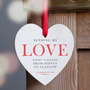'Love Across The Miles' Personalised Heart Decoration - home accessories
